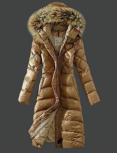 voordelige Dames donsjassen & parka's-Dames Dagelijks Informeel Effen Maxi Gewatteerd, Polyester Lange mouw Winter Capuchon Zwart / Rood / Khaki L / XL / XXL