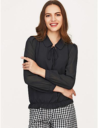 billige Bluser-Skjortekrage Bluse Dame Aktiv Ferie Dusty Rose Svart / Snøring