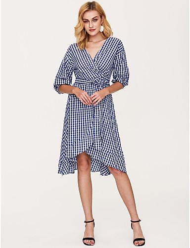 Γυναικεία Κομψό στυλ street Θήκη Φόρεμα - Τετράγωνο Καρό, Στάμπα Μίντι Λαιμόκοψη V Μπλε