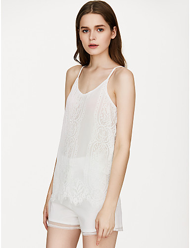 cheap Women's Tops-Women's Color Block Lace Tank Top Basic Street chic Daily Holiday Strap White / Black