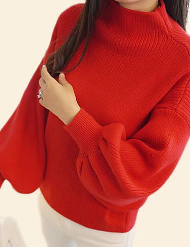 preiswerte Kitschige Weihnachtspullis-Damen Weihnachten / Alltag Grundlegend Solide Langarm Standard Pullover Pullover Jumper, Rundhalsausschnitt Herbst Schwarz / Weiß / Rote Einheitsgröße