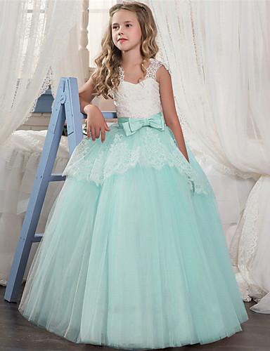 preiswerte Kinder Mode-Kinder Mädchen Süß Anspruchsvoll Festtage Ausgehen Einfarbig Spitze Gitter Ärmellos Maxi Kleid Purpur / Baumwolle