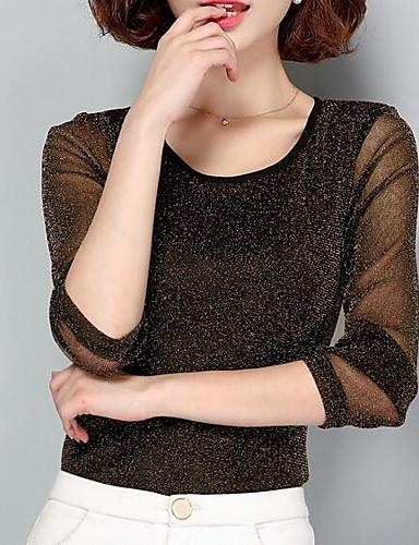 billige T-skjorter til damer-T-skjorte Dame - Ensfarget, Netting Grunnleggende / Gatemote Arbeid Svart