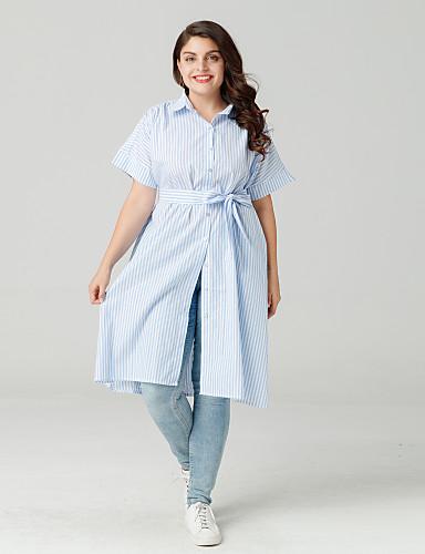 billige Dametopper-Skjortekrage Store størrelser Skjorte Dame - Stripet Ut på byen