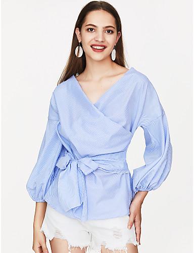 billige Skjorter til damer-Puffermer Løstsittende V-hals Skjorte Dame - Stripet, Sløyfe Blå / Sommer / Snøring