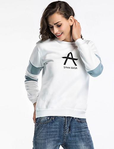 preiswerte Damen Kapuzenpullover & Sweatshirts-Damen Rundhalsausschnitt Pullover - Druck, Buchstabe Baumwolle