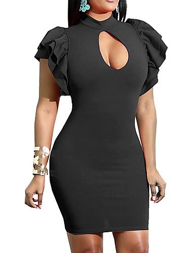 preiswerte Bodycon für den Klub-Damen Party Sexy Skinny Bodycon Kleid - Rüsche, Solide Übers Knie Halsband Schwarz