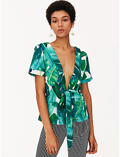 billige Dametopper-Dyp V T-skjorte Dame - Blomstret Grønn