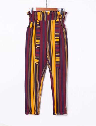 preiswerte Hosen & Röcke für Damen-Damen Alltag Haremshosen Hose - Solide / Gestreift Baumwolle Rote S M L