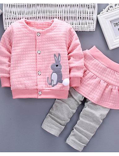 cheap Kids in home-Baby Girls' Basic Daily Solid Colored / Color Block Patchwork Long Sleeve Regular Regular Cotton Clothing Set Red