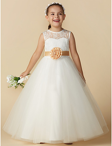 4aa466453ab Princess Ankle Length Flower Girl Dress - Lace   Tulle Sleeveless Jewel Neck  with Bow(s)   Sash   Ribbon   Flower by LAN TING BRIDE® 4356940 2019 –   59.99