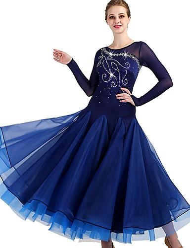 levne Shall We®-Standardní tance Šaty Dámské Výkon Spandex / Organza Sklady / Křišťály / Bižuterie Dlouhý rukáv Šaty