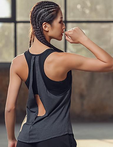 povoljno Vježbanje, fitness i joga-Žene Majica za jogu s ušivenim grudnjakom Open Back 2 u 1 Moda Siva Trčanje Fitness Trening u teretani Potkošulja Bez rukávů Sport Odjeća za rekreaciju Mala težina Prozračnost Veliki utjecaj