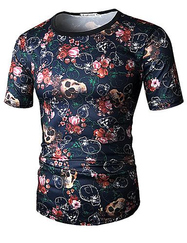 d1f8d7375b6 Men s Sports Active   Basic Plus Size Cotton Slim T-shirt - Color Block  Print Round Neck   Short Sleeve   Summer  06891272