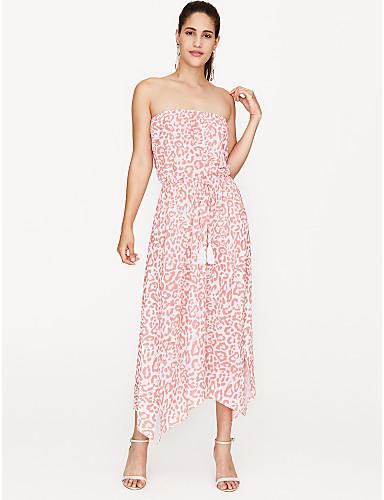preiswerte Kleider für die Ferien-Damen Party Strand Schlank Hülle Kleid Midi Trägerlos / Blumen / Sexy