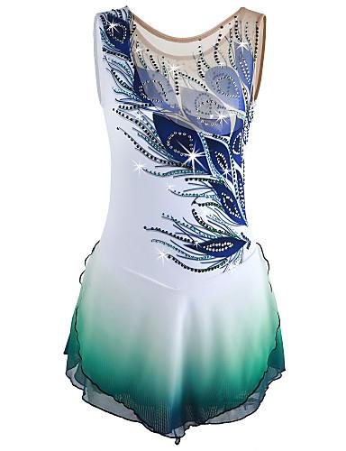 preiswerte Eiskunstlaufkleider-21Grams Eiskunstlaufkleid Damen Mädchen Eislaufen Kleider Weiß Pfau Halo-Färbung Elasthan Hochelastisch Wettbewerb Eiskunstlaufkleidung Handgemacht Solide Ärmellos Eislaufen Eiskundstlauf