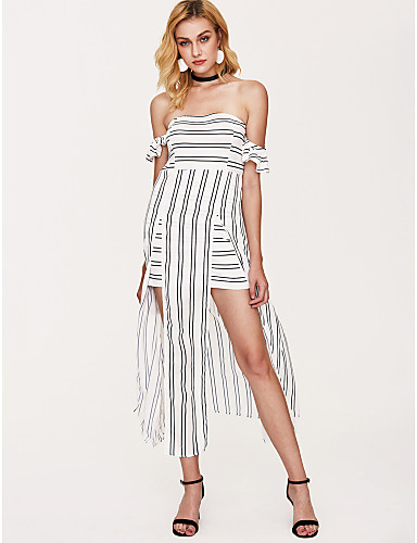 preiswerte Trendfarben für den Frühling-Damen Festtage Hülle Kleid - Gespleisst Druck, Gestreift Maxi Schulterfrei Hohe Taillenlinie Weiß