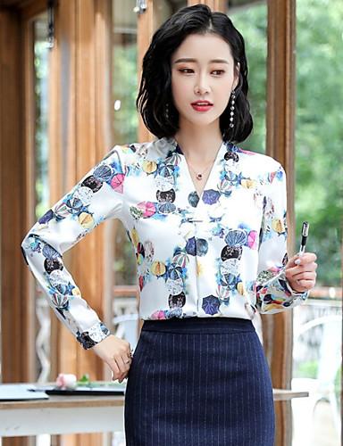 billige Skjorter til damer-Tynn V-hals Skjorte Dame - Stripet Gatemote Ut på byen Hvit / Vår / Sexy