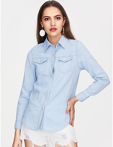 billige Skjorter til damer-Bomull Skjortekrage Skjorte Dame - Ensfarget Aktiv Blå