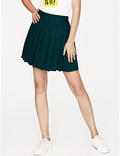 preiswerte Hosen & Röcke für Damen-Damen Alltag A-Linie Röcke - Solide Hellgrau Königsblau Lavendel M L XL