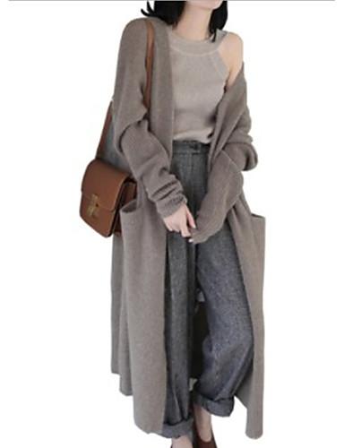 preiswerte Damen Oberteile-Damen Alltag Solide Langarm Lose Lang Strickjacke Pullover Jumper, V-Ausschnitt Schwarz / Kamel Einheitsgröße