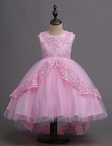 preiswerte Kinder Mode-Kinder Mädchen Süß nette Art Party Festtage Solide Ärmellos Knielang Asymmetrisch Kleid Rosa / Baumwolle