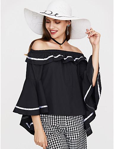 billige T-skjorter til damer-Bomull Løse skuldre T-skjorte Dame - Ensfarget Dusty Rose Svart / Drapering