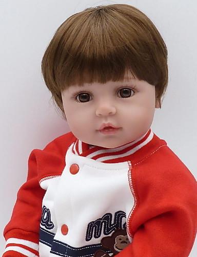 preiswerte Spielzeug & Hobby Artikel-NPKCOLLECTION NPK-PUPPE Lebensechte Puppe Baby Jungen 24 Zoll Neugeborenes Geschenk Künstliche Implantation Braune Augen Kinder Jungen / Mädchen Spielzeuge Geschenk