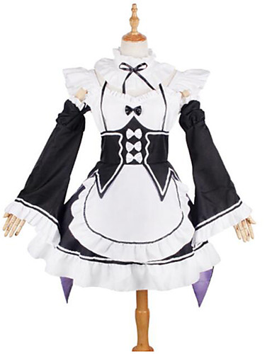 cheap Anime Costumes-Inspired by Re:Zero Starting Life in Another World kara hajimeru isekai seikatsu Maid Costume Rem Ram Anime Cosplay Costumes Japanese Cosplay Suits Lace Long Sleeve Cravat Dress Sleeves For Girls'