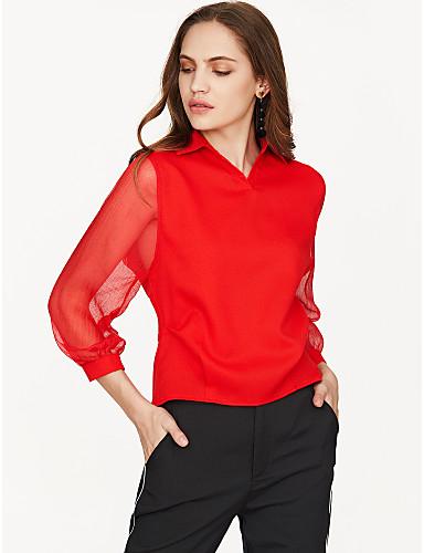 billige Dametopper-Skjortekrage Bluse Dame - Ensfarget Hvit
