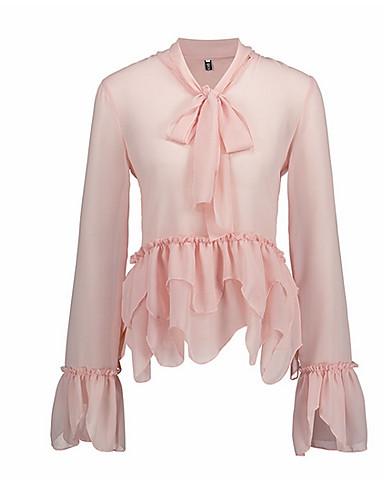 preiswerte Staubige Rose-Damen Solide - Grundlegend T-shirt Gitter / Spitzenbesatz Staubige Rose Rosa