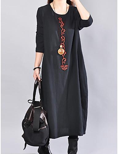 levne Maxi šaty-Dámské Základní Volné Tunika Šaty - Jednobarevné Midi Černá