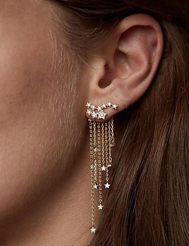 povoljno Kristalne naušnice-Žene Kristal Kubični Zirconia mali dijamant Viseće naušnice Ispustiti Kreativan Csillag dame Moda Elegantno Imitacija dijamanta Naušnice Jewelry Zlato / Pink Za Vjenčanje Zabava / večer Angažman