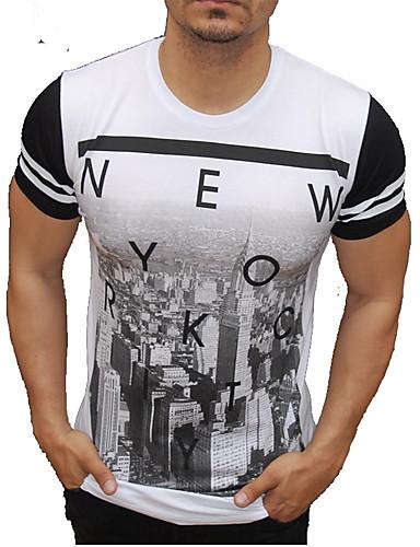 voordelige Heren T-shirts & tanktops-Heren Actief / Street chic T-shirt Katoen Kleurenblok / Letter Ronde hals Slank Wit / Korte mouw