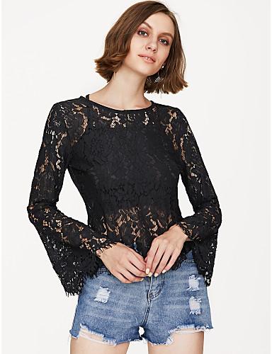 billige Dametopper-Blonder Bluse Dame - Helfarge Moderne Svart / flare Sleeve / Sexy