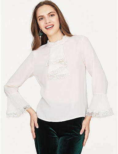 billige Dametopper-Bluse Dame - Ensfarget Grunnleggende Hvit / flare Sleeve