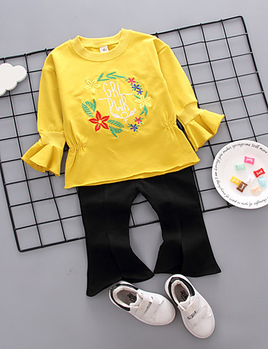171f57fa86 Baby Girls  Vintage Daily Solid Colored   Geometric Long Sleeve Regular  Cotton   Linen   Acrylic Clothing Set Yellow   Toddler 6859098 2019 –  14.17