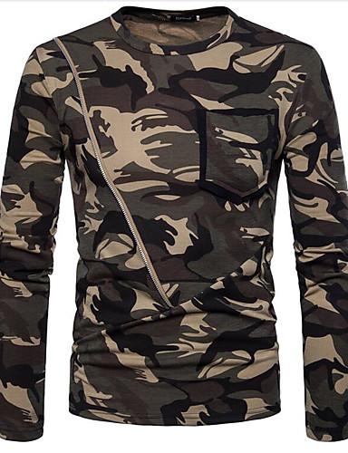 preiswerte Militär-Herrn camuflaje T-shirt, Rundhalsausschnitt Braun / Langarm