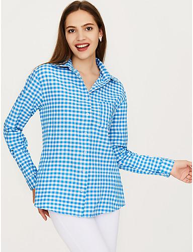 billige Dametopper-Bomull Puffermer Store størrelser Skjorte Dame - Ensfarget / Geometrisk, Dusk Vintage BLå & Hvit Blå