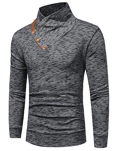 voordelige Heren T-shirts & tanktops-Heren Standaard T-shirt Katoen Effen Slank Marineblauw / Lange mouw