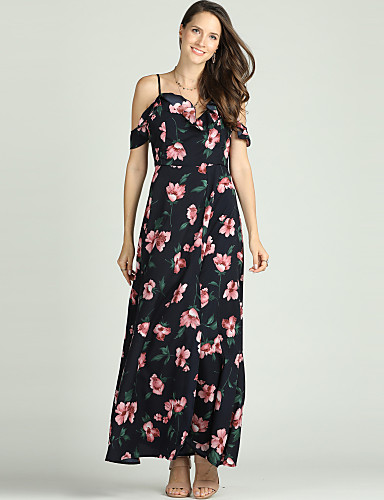 dcfa9ea37c Women's Plus Size Daily / Beach Basic / Sophisticated Maxi Slim Sheath / Chiffon  Dress - Floral Ruffle / Print V Neck Spring Black XL XXL XXXL / Sexy ...