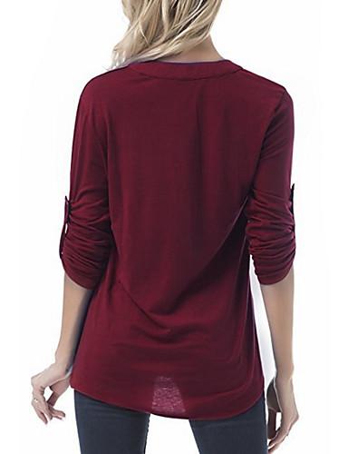 billige Dametopper-V-hals T-skjorte Dame - Ensfarget Svart