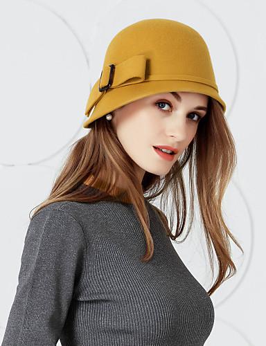 preiswerte Damenhüte-100% Wolle Kentucky Derby-Hut / Hüte mit Schleife 1pc Hochzeit / Party / Abend Kopfschmuck