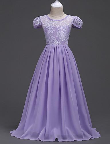 preiswerte Ausverkauf-Kinder Mädchen Spitze Vintage Modisch Kurzarm Satin Kleid Purpur / Baumwolle