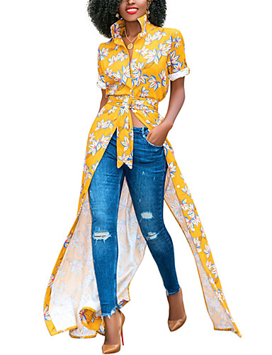 preiswerte Leicht zu tragende Shirt-Kleider-Damen Ausgehen Boho Hemd Kleid - Gespleisst Druck, Blumen Maxi Mini Hemdkragen Tropisches Blatt