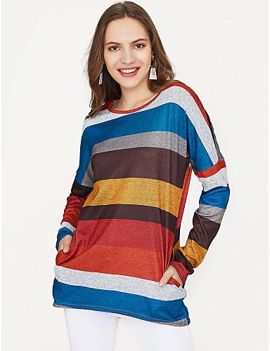 billige Dametopper-Bomull T-skjorte Dame - Stripet Grunnleggende / Fargeblokk Grønn / Vår / fin Stripe