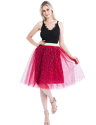 cheap Wedding Slips-Wedding Party / Party / Cocktail Slips Nylon Knee-Length Tutus & Skirts / Bridal with Star