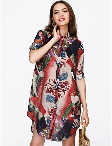 billige Dametopper-Skjortekrage Skjorte Dame - Blomstret Grunnleggende Rosa