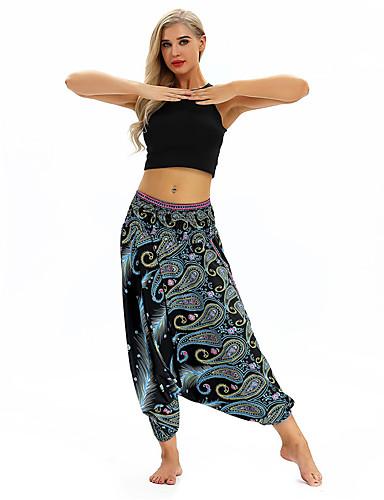povoljno Vježbanje, fitness i joga-Žene Harem hlače Nabori na struku Hlače za jogu Cvijetni print Zumba Trbušni ples Fitness ženske sportske hlače Odjeća za rekreaciju Mala težina Prozračnost Ovlaživanje Puha Neelastično Širok kroj