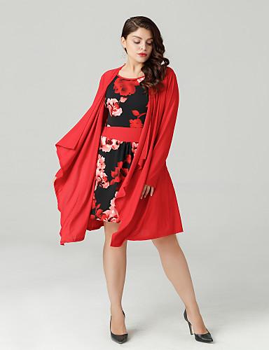 billige Dametopper-Store størrelser T-skjorte Dame - Blomstret Ut på byen